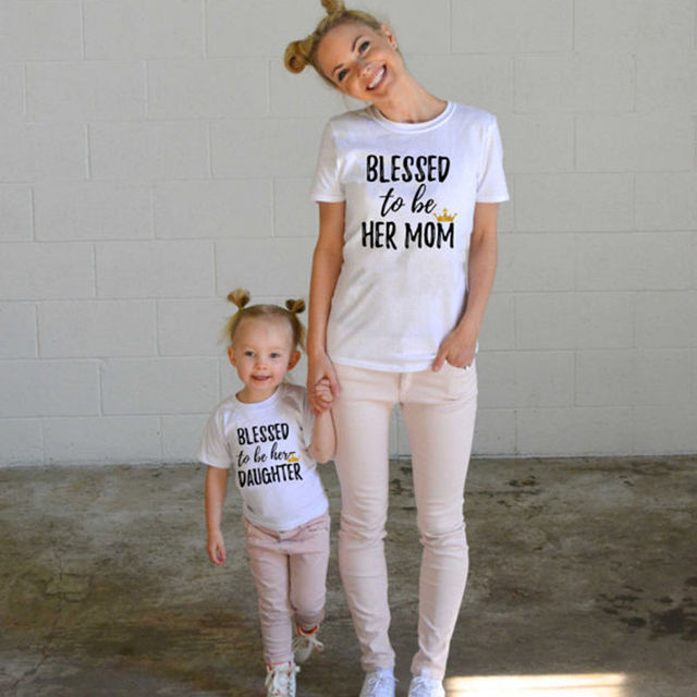 570b04ead63 Blessed to be Her Mom Daughter Family Matching Shirt Casual T-shirt Tops  Clothes Outfits Casual Tshirt