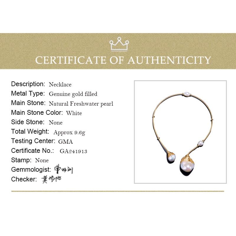 DAIMI or & perle collier Unique de luxe bijoux conceptions Baroque collier de perles 41-43 cm tour de cou Torques nouveau Style - 6