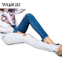 WQJGR Panelled Jeans Woman 2019 Summer New Spliced Ripped Contrast Color Denim Pencil Pants Tide Fashion Plus Size 4XL