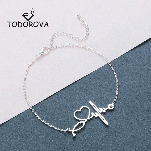 Todorova Stainless Steel Heartbeat Cardiogram Bracelets Stethoscope Women Bracelet Special Gifts for Nurse Jewelry for Doctor