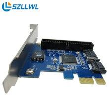 PCI-E для 2 SATA расширение карты Настольных SATA + IDE жесткий диск управления PCI Express адаптер карты