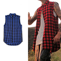 Newest Men Fashion Sumemer Tank Tops Kanye West Side zipper Men's Plaid Shirts Chris Brown Scottish Nightclubs Plus Size