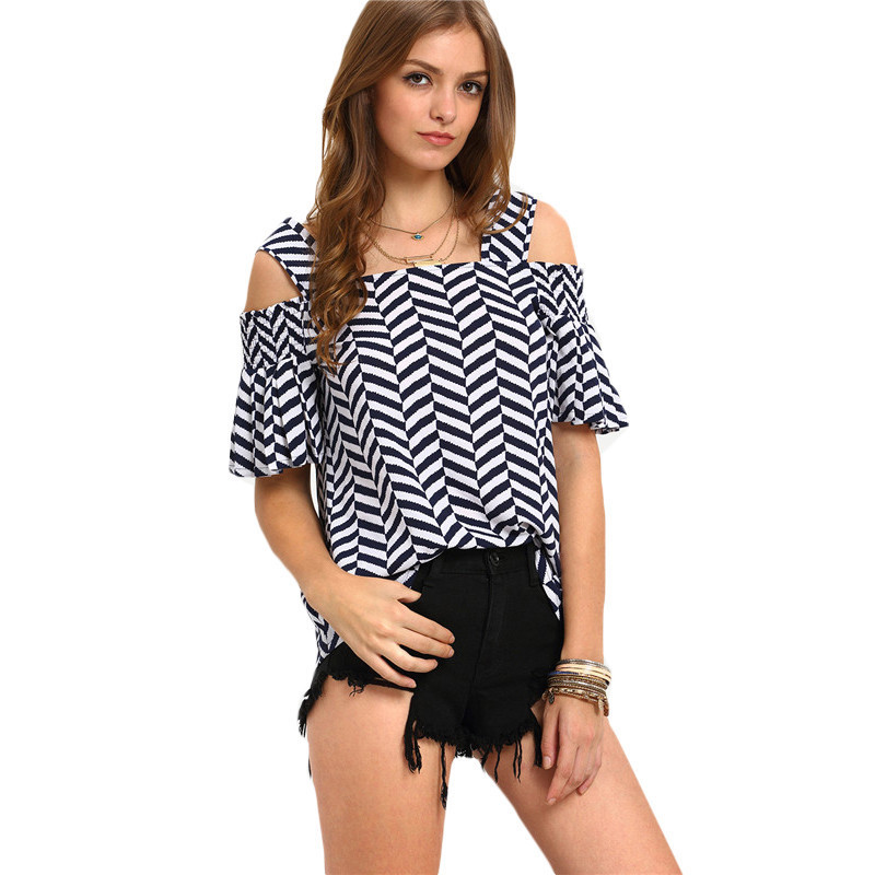 f28d0814 ROMWE Casual Womens Tops and Blouses For Summer Ladies Short Sleeve ...