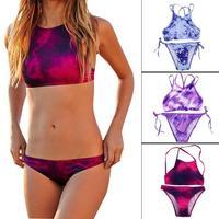 2015 New 3 Colors Women Print Bikini Set Sexy Tie Dye Swimwear Crop Top High Neck
