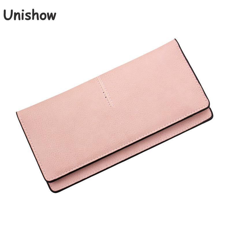 Unishow Women Thin Wallet Fashion Causal Pu Leather Women Purse Brand Female Phone Wallet Long Card Holders Ladies Carteiras