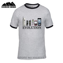 Retro-stil T-shirt Evolution handy stil Digitaldruck T-shirt Alt Handy gedruckt Distressed Design herren T shirt(China)