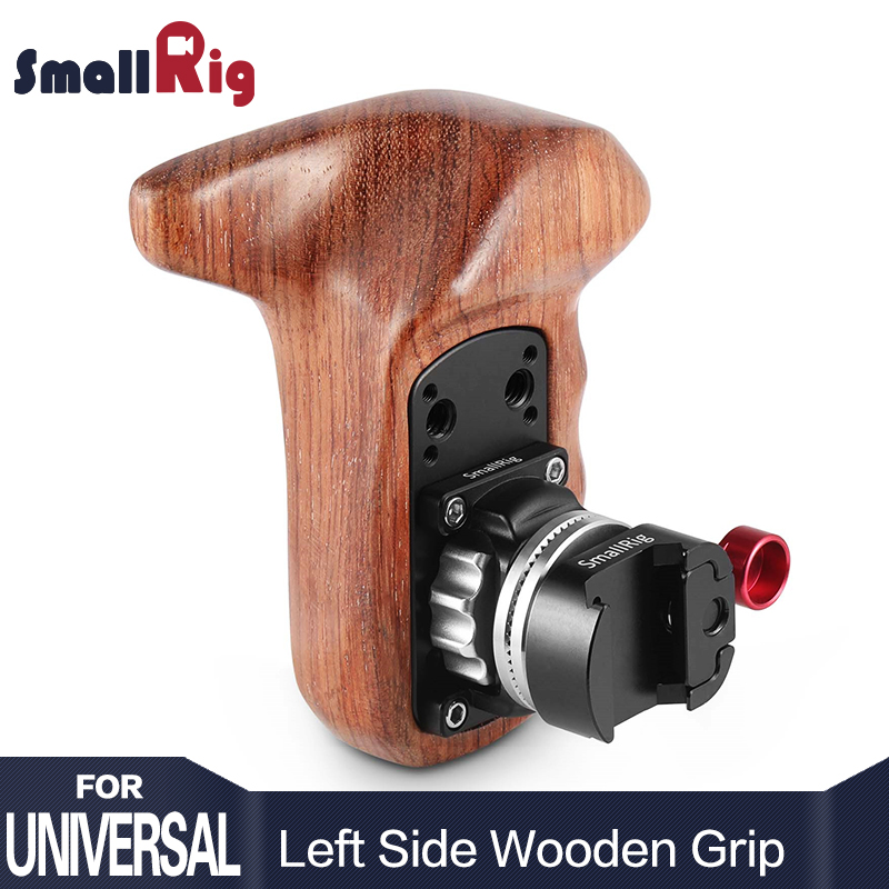 SmallRig Quick Release Camera Handle Left Side Wooden Handle Grip with NATO Mount DSLR Camera Stabilizer
