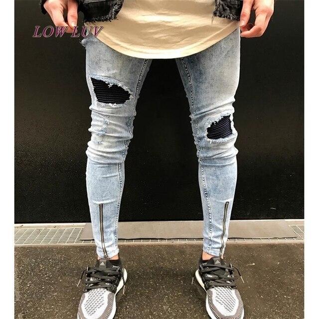 1f162d3ff5 Ankle boots com zíper o projeto Hi-Rua Mens Preto Rasgado calças de Brim Dos
