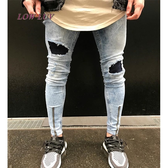5afbc32dd864 ankle zipper design Hi-Street Mens Black Ripped Jeans Men Fashion Male  Distressed Skinny Jeans