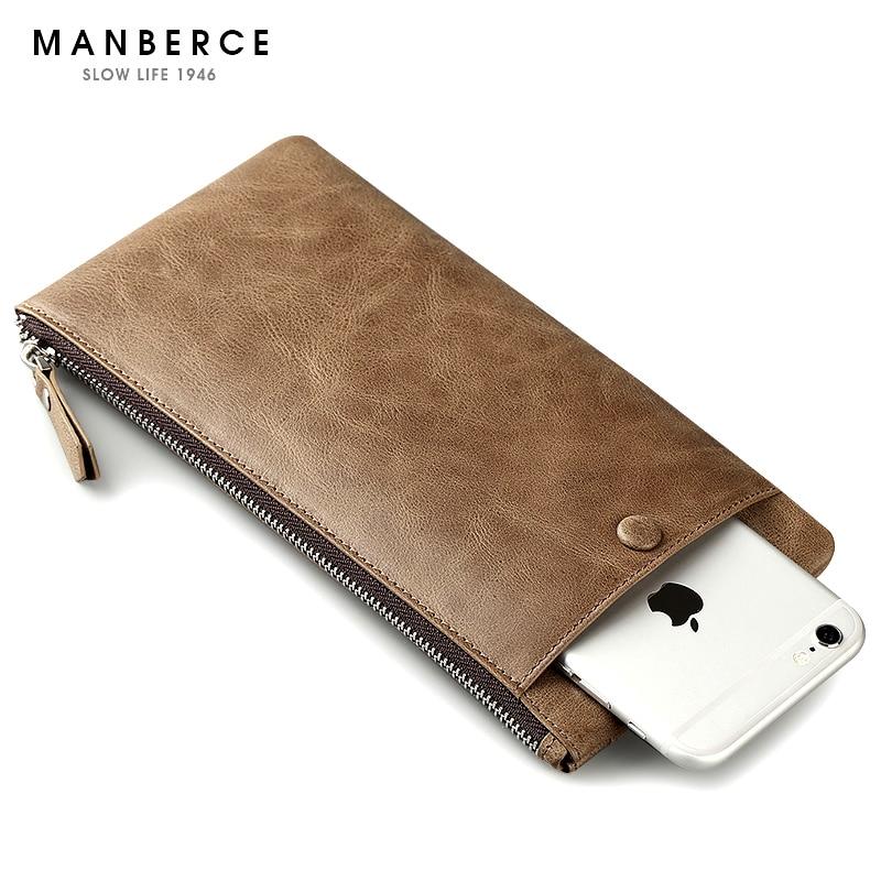 ФОТО MANBERCE Brand Men Large Capacity Wallet Fashion Women Purses Clutch Bag Cowhide Mens Wallet Leather Genuine Credit Card Holder