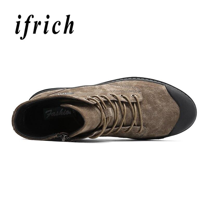 Supérieure Marque Designer Bottes Chaussures Bottines Hommes Kaki Décontractées Suédé Marques Gris Khaki Qualité D'extérieur En Mâle Homme Cuir gray Printemps black E2H9YWDI