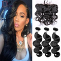 13x4 Lace Frontal Closure With Bundles 7A Brazilian Virgin Hair Body Wave Sexay Unprocessed Human Hair 3 Bundles With Closure