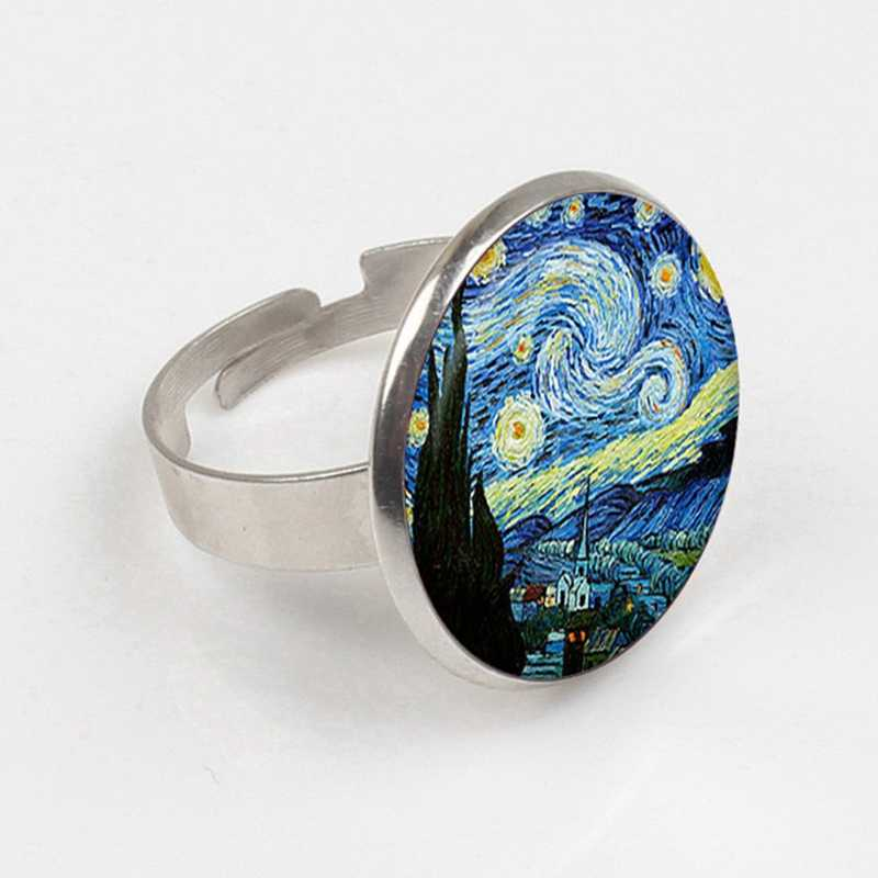 2019 Handicraft Jewelry Vintage Van gogh Starry Night ring Silver Plated Chain Glass  ring