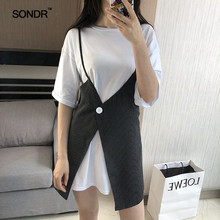 SONDR The new 2019 summer is handsome and stylish with irregular striped waistband T-shirt skirt