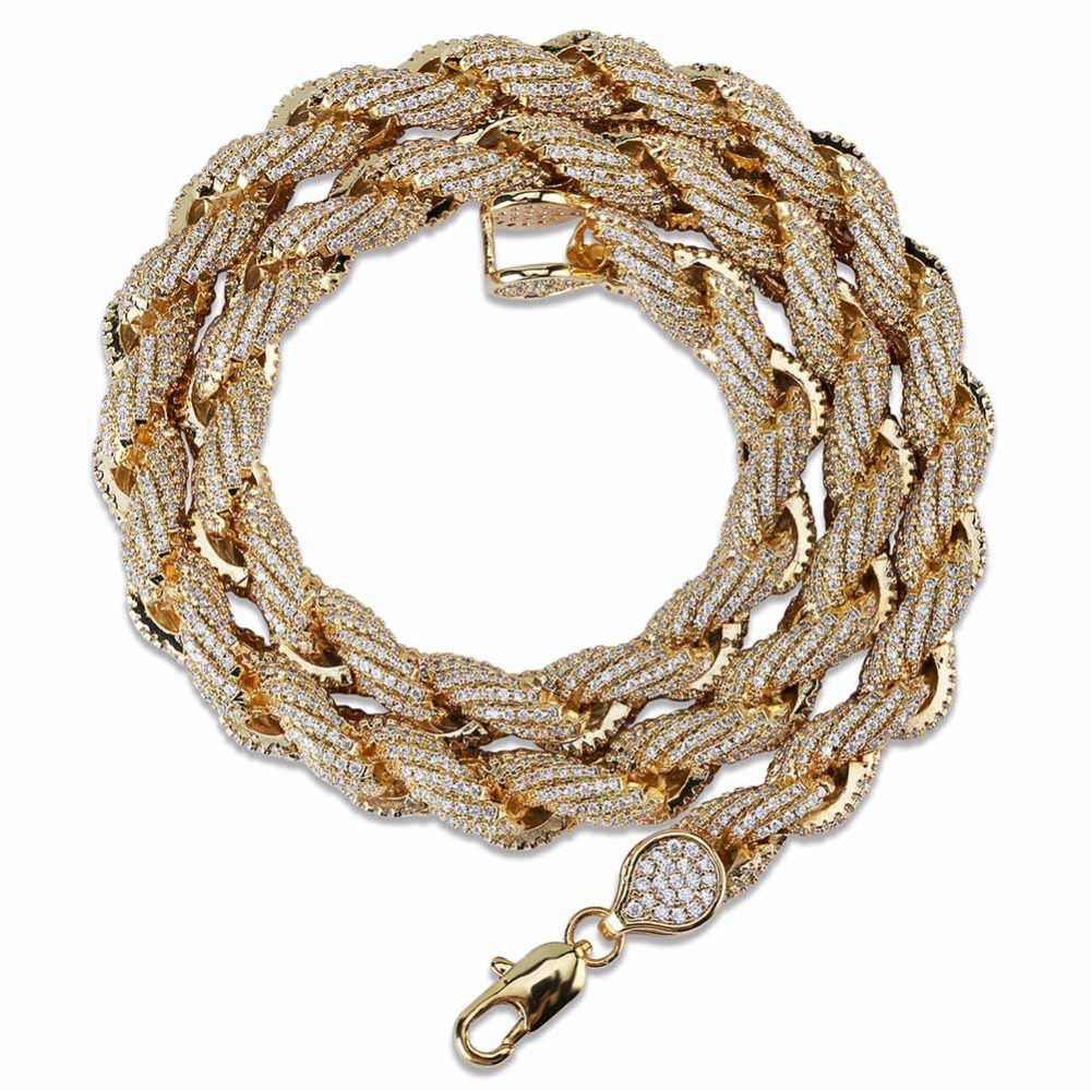 Micro Pave CZ Stone Twist Rope Necklace Gold Silver Men Hip Hop Rapper Bling Iced Out Round Link Chain Chokers Necklaces Jewelry