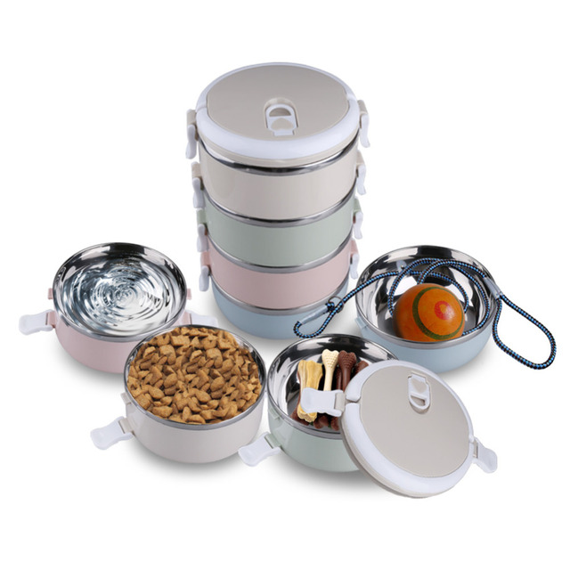 portable dog bowl 2 4 tiers stainless steel travel food feeding bowl