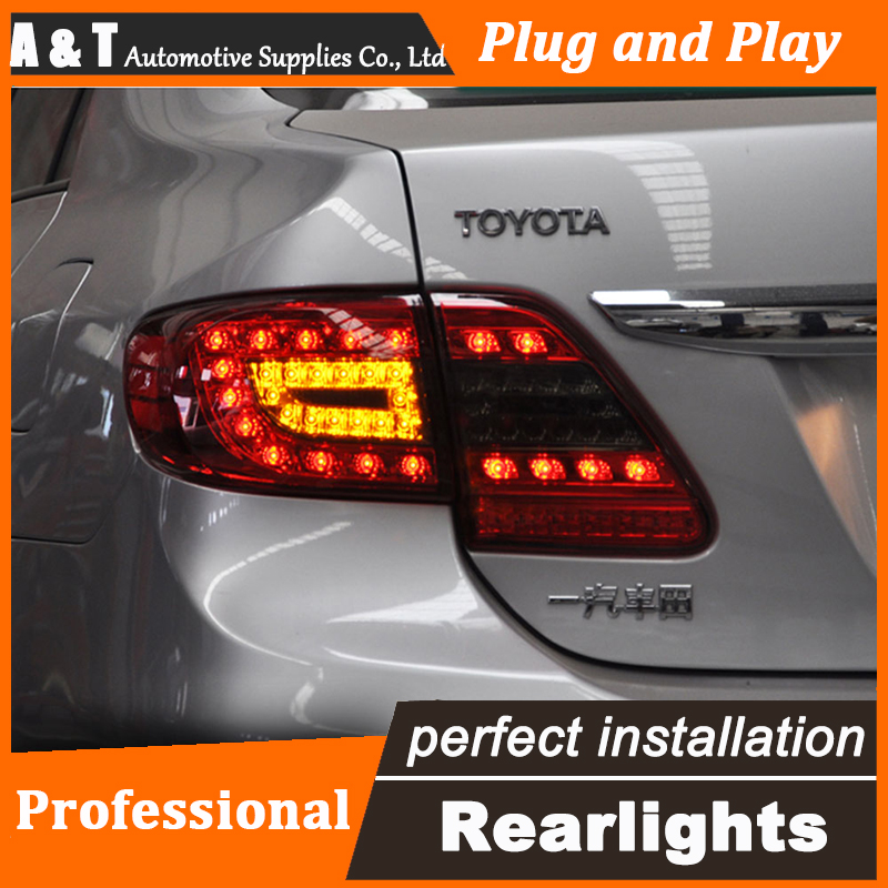 Car Styling LED Tail Lamp for Toyota Corolla Taillights 2011-2013 Rear Light DRL+Turn Signal+Brake+Reverse auto Accessories car styling tail lamp for toyota corolla led tail light 2014 2016 new altis led rear lamp led drl brake park signal stop lamp