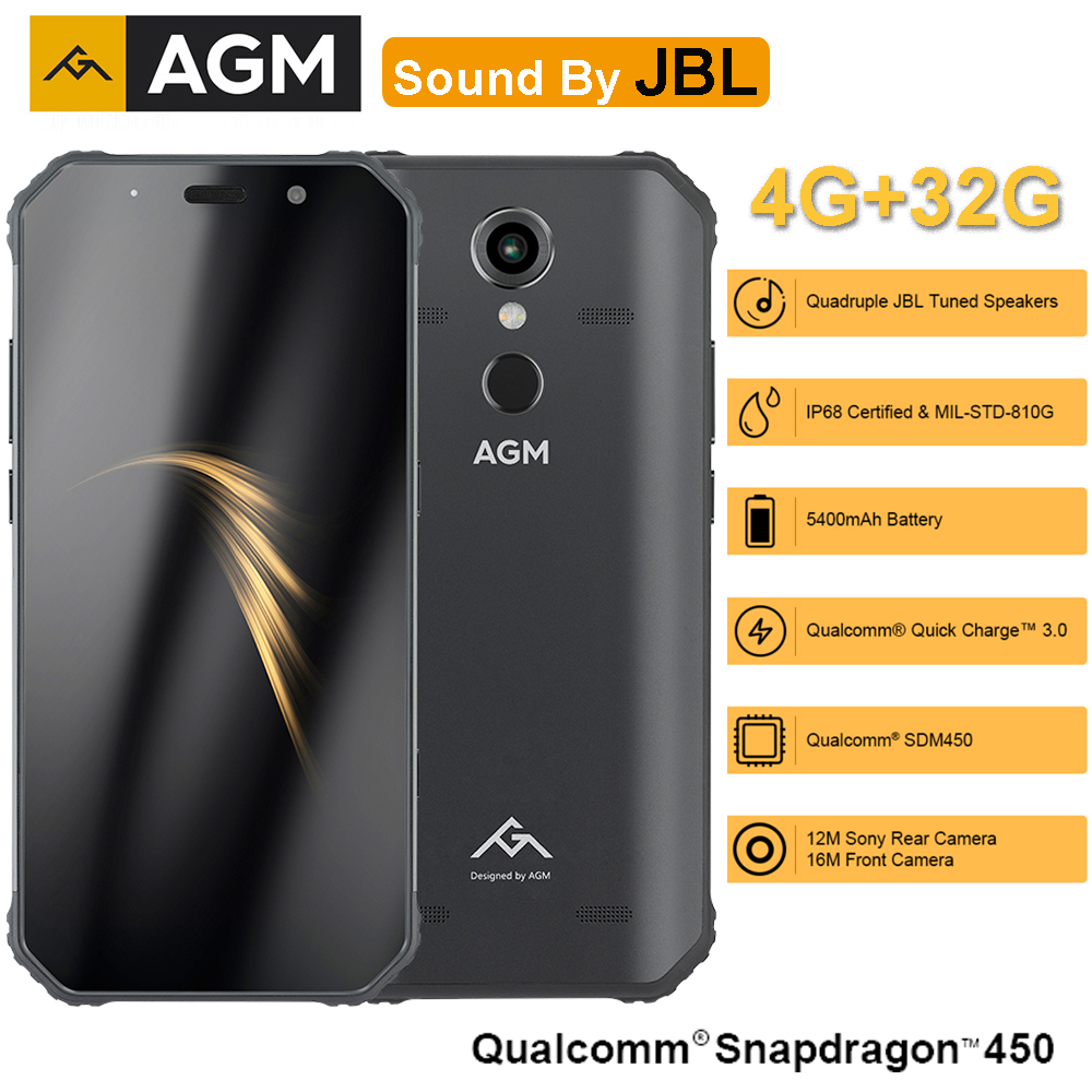"AGM A9 Co-Branding 5.99"" FHD+ 4G+32G Android 8.1 Rugged Phone 5400mAh IP68 Waterproof Smartphone Quad-Box Speakers"
