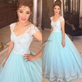 Azul princesa Vestido de Casamento Branco Do Laço Do Vintage Vestidos de Noiva 2017 bola de Vestido da Luva do Tampão Das Mulheres Vestido de Casamento Robe de Mariage Mariee