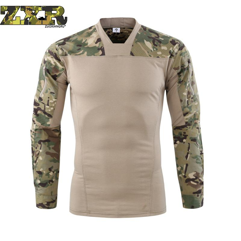 Novelty & Special Use Tactical Military Uniform Army Fans Soldiers Force Camouflage V-neck Long Sleeve Combat Tactical T-shirt For Men Work Wear & Uniforms