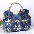 2017 women denim rhinestone handbag flower dumpling bag ladies small shoulder bag messenger bag one shoulder cross body bag