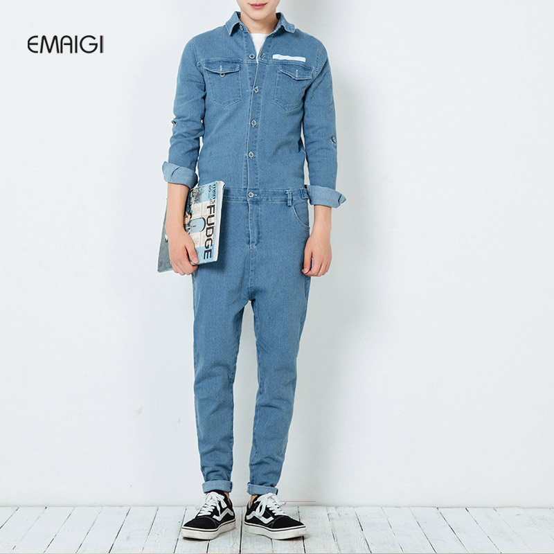 New spring autumn mens jumpsuit overalls jeans fashion hiphop long sleeve a piece trousers male casual denim jumpsuit K164 spring summer autumn winter women jeans overalls suspenders trousers spaghetti strap denim pants frock jumpsuit blue calca jeans