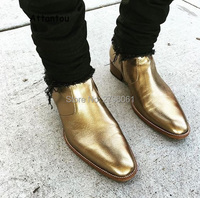 2017 fall Chelsea Boots zipper Western Boot Gold Silver Metallic Leather ankle boots mens leather metal chain shoes size 37 46