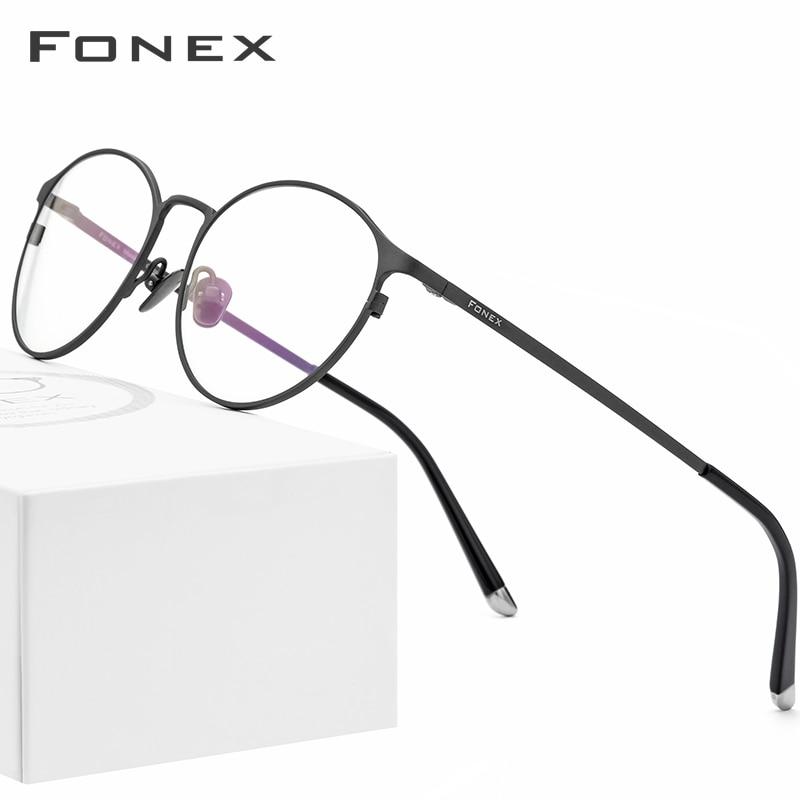 FONEX Full Rim Pure Titanium Eyeglasses for Men Optical Glasses Frame Prescription Eyewear Women Fashion Round Retro Spectacles