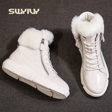 SWYIVY ผู้หญิงฤดูหนาวหิมะรองเท้าบู๊ทข้อเท้ากันน้ำ 2019 ใหม่ INS Hot Light หญิงรองเท้าผ้าฝ้ายแฟชั่นขนสัตว์ข้อเท้ารองเท้า