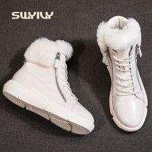 SWYIVY, botines de Invierno para mujer, impermeables, novedad de 2019, zapatos de algodón ligeros para mujer, botines de nieve de piel de plataforma a la moda