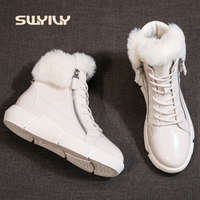 SWYIVY Winter Women Snow Ankle Boots Waterproof 2019 New Ins Hot Light Female Cotton Shoes Platform Fashion Fur Snow Ankle Boots