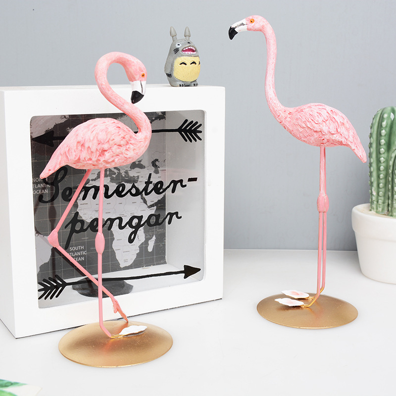 1 Piece Resin Pink Flamingo Home Decor Figure Gifts For Ins Style Statue Figurines Desktop Sculpture Long Leg Birds Ywbs01