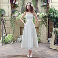 Short Lace Wedding Dresses Sweetheart Natural Waist With Hand Make Flower Ankle Length Wedding Gowns