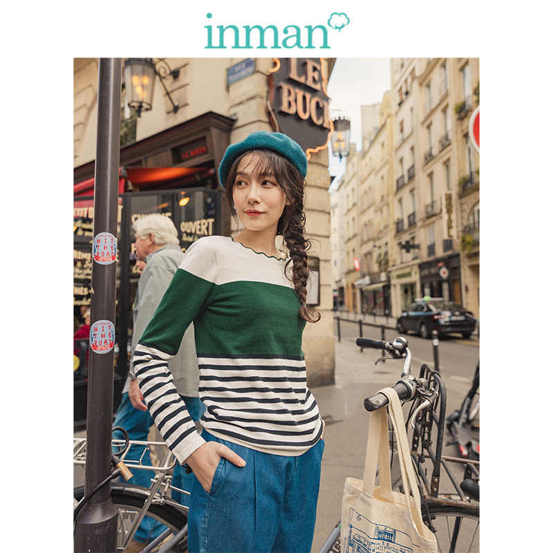 INMAN 2019 otoño nueva llegada ola encaje cuello redondo manga larga rayas minimalismo todas las mujeres combinadas Bottoming Pullover