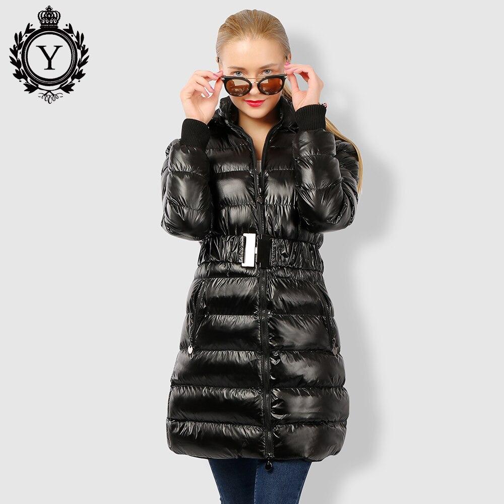 COUTUDI 2018 Lange dameskleding Getailleerde winter Warme jassen Glanzende effen zwarte parka Vrouwelijke katoenen jassen met capuchon Parka lange jassen