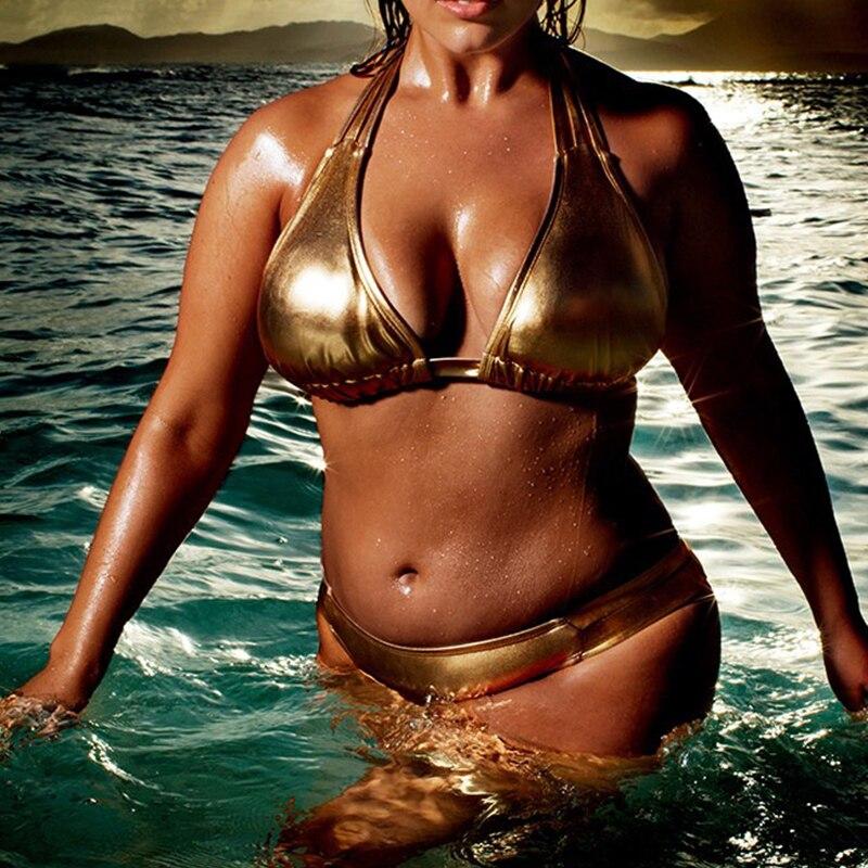 2018 Super Sexy Women Golden Bikini Set Swimming Suit Bathing Suit Brazil Plus Size 4XL Swimwear Bottom Ruched Nightclub Bikini