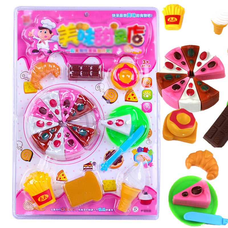 The child cut fruit cake toys children play happy as fruit pizza slice and see kitchen utensils