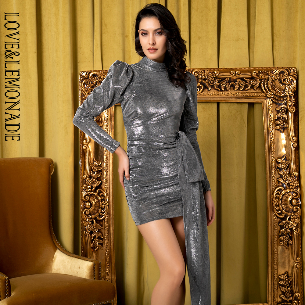 Love Lemonade Sexy Open Back High Collar Pleated Non Asymmetric Reflective Puff Sleeve Party Dress LM81733