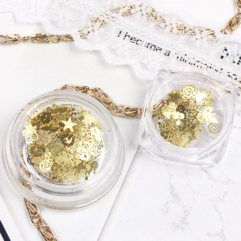 Image 5 - 1 Box Christmas Gold Metal Slices Nail Art Decorations 3D Hollow Snowflakes Star Sequins Nail Designs Accessories Manicure TR886-in Nail Glitter from Beauty & Health