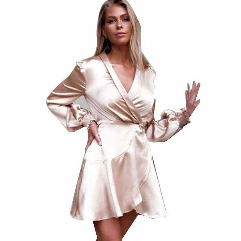 LIVA Cô Gái Nữ Nặng Lụa SATIN LỤA VNECK Đầm Tay Bắp Chân Chiều dài Váy Đầm cho Nữ Mùa Xuân 2019 Hồng