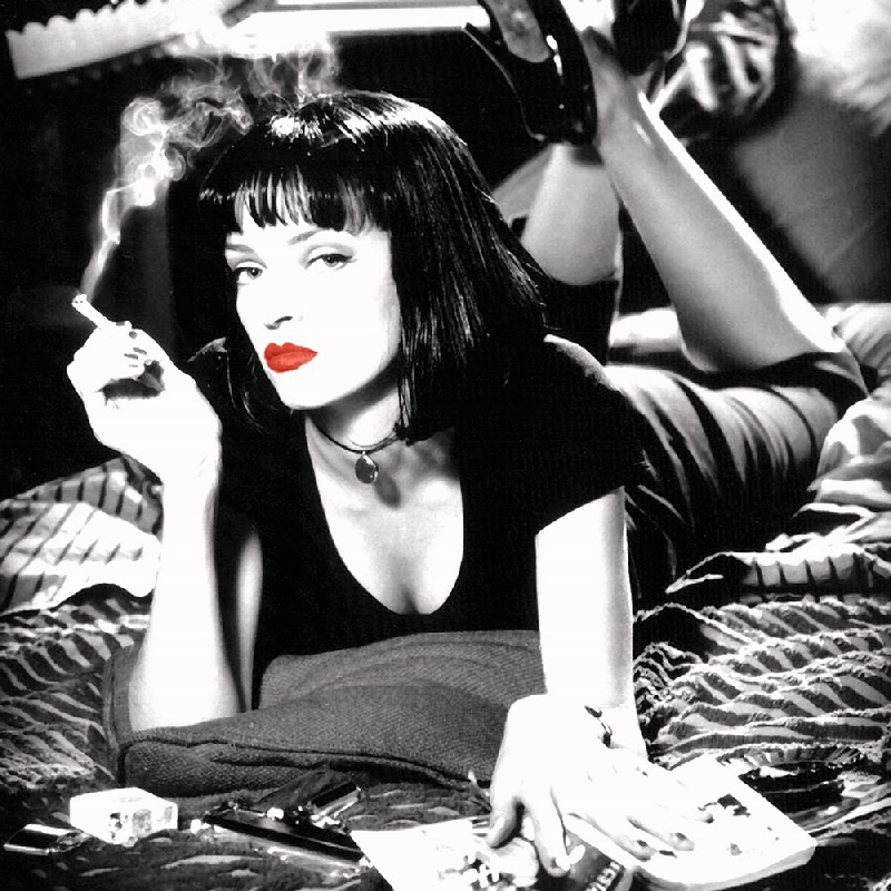 Canvas prints Young sex picture from movie a Smoking lady with red lips for living room decor
