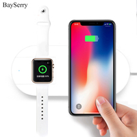 For iPhone X 8 8 Plus Fast Wireless Charging 2 in 1 For Apple Watch Wireless Charger Pad Usb Charger Quick Mobile Phone Chargers