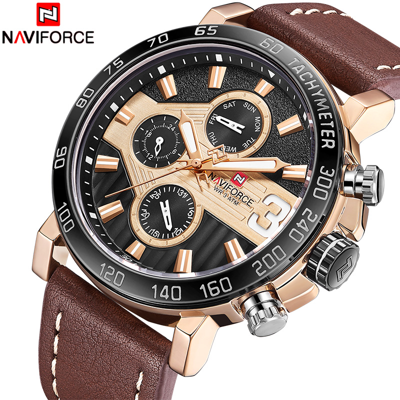 NAVIFORCE Mens Sport Watches Men 24 hour Date Quartz Clock Top Brand Luxury Male Fashion Leather Waterproof Military Wrist Watch все цены