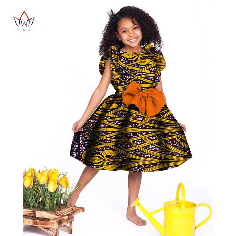 2017 Africain Femmes Vêtements enfants dashiki Traditionnel coton Robes Correspondant Afrique Impression fille Robe D'été coton BRW WYT027