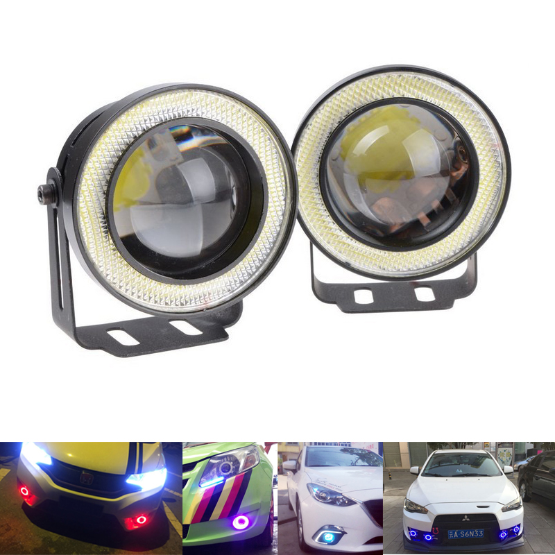 2pcs Waterproof Projector LED Fog Light Lens COB Halo Angel Eyes Ring 12V MOTO Headlight SUV ATV Off Road Daytime Running Lights sinolyn 3 0 super hid bixenon lenses headlight car projector lens square u led angel eyes halo daytime running lights headlamp