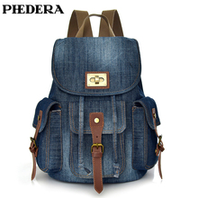 PHEDERA New High Quality Denim Female Backpacks Casual Women Rucksack Green Blue Backpack