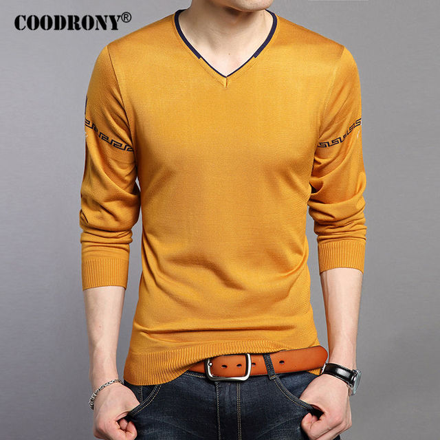 COODRONY Sweater Men 2017 Spring New Arrival Sweaters Knitted Cotton Wool Pullover Men V-Neck Shirt Men Brand Clothing S - XXXXL