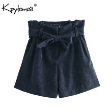 Vintage Chic Bow Tie Sashes Corduroy Paperbag Shorts Women 2019 Fashion High Waist Loose Short Pants Casual Pantalones Cortos