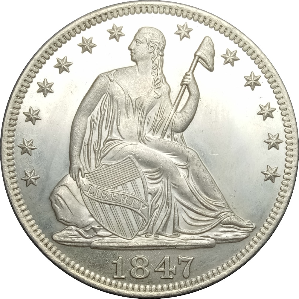 United States Liberty Seated Half Dollars Large Letters in Legend 1847 o No Motto Above Eagle Brass Plated Silver Copy Coin