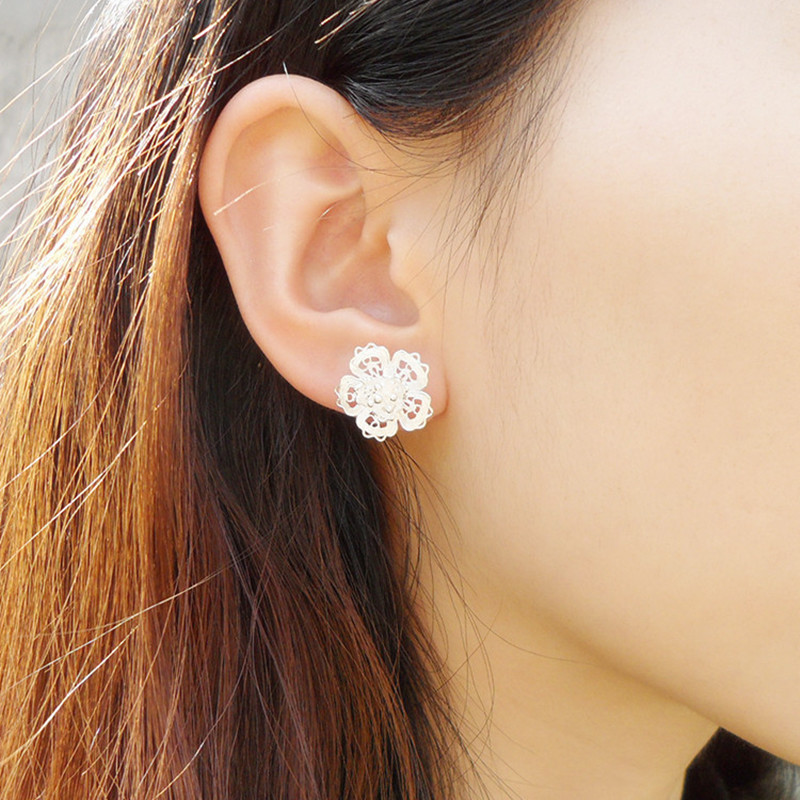 Flower Stud Earrings Silver Chinese Handmade Ethnic Jewelry Accessories Ear Rings Women Earing 999 Sterling Silver Earrings in Stud Earrings from Jewelry Accessories